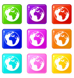 Earth globe set 9 vector