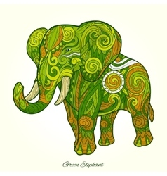 Elephant green ornament ethnic vector image