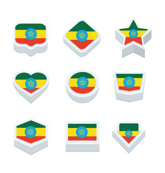 Ethiopia flags icons and button set nine styles vector
