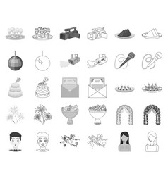 Event organisation monochromeoutline icons in set vector