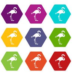 flamingo icon set color hexahedron vector image