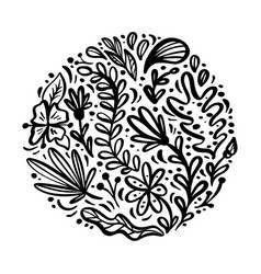 flat abstract round black flower herb bouquet vector image