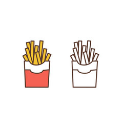 French fries linear icon delicious fried vector