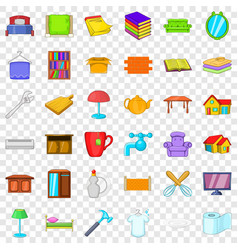 furniture in house icons set cartoon style vector image