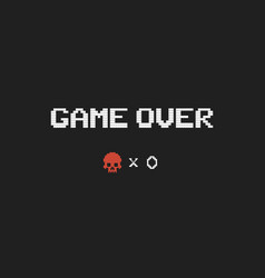 game over text and red skull vector image