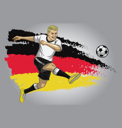 Germany soccer player with flag as a background vector
