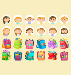 Girl and boy backpack sticker chancellery vector