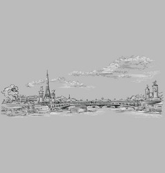 grey hand drawing paris 4 vector image