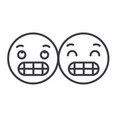 grimacing emoji concept line editable vector image