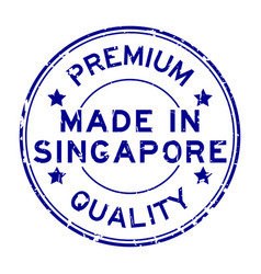 grunge blue premium quality made in singapore vector image