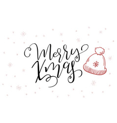 hand lettering greeting merry christmas vector image