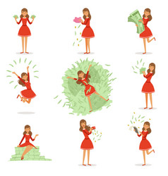Happy young rich woman in a red dress enjoying her vector