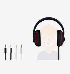 Headphone and mini jack plugs joyful boy vector