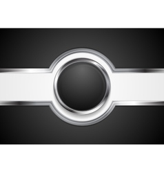 Hi-tech black background with silver circle vector