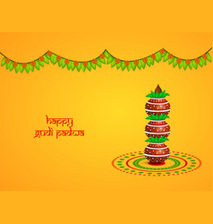 Hindu festival gudi padwa backgrou vector
