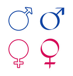 Icons with male and female signs vector