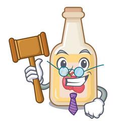 Judge bottle apple cider above cartoon table vector