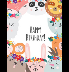 kids birthday card or banner with cartoon animals vector image