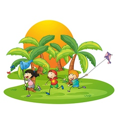Kids playing in the island near the palm trees vector image