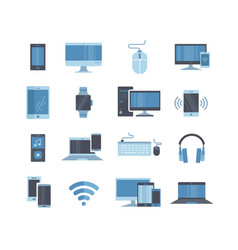 large collection blue toned digital devices vector image