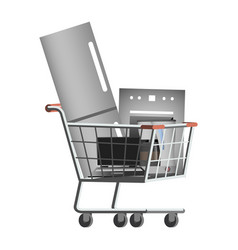 Large home appliances in the shopping cart vector