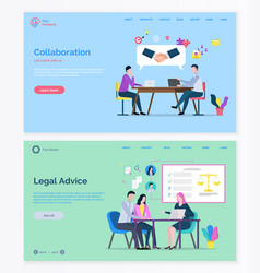 Legal advice and company collaboration vector