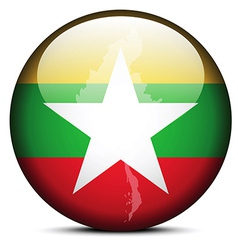 Map on flag button of Republic the Union Myanmar vector image