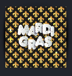 mardi gras decoration seamless pattern in gold vector image