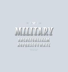 Metal chrome narrow slab serif font vector
