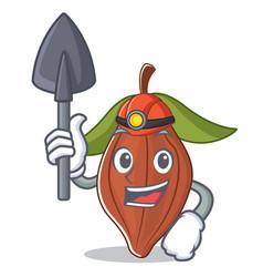Miner cacao bean mascot cartoon vector