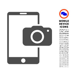 Mobile camera icon with set vector