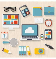 Modern flat icon set for web and mobile vector