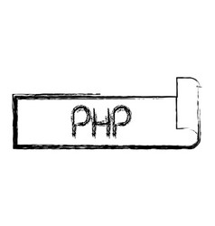 Monochrome blurred silhouette label text of php vector