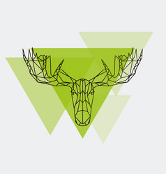 Moose head geometric lines silhouette isolated vector