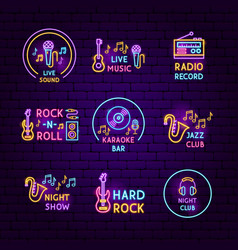 music neon label set vector image
