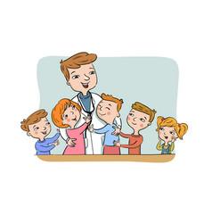 paediatric doctor with children vector image