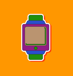 paper sticker on background of digital watch vector image