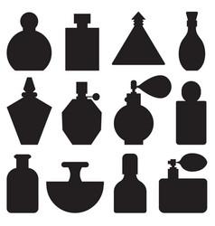 perfume toilet water bottles in outline design vector image