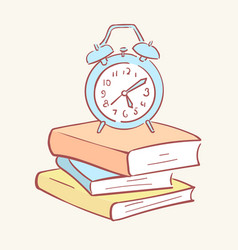 pile stack alarm clock books hand drawn style vector image