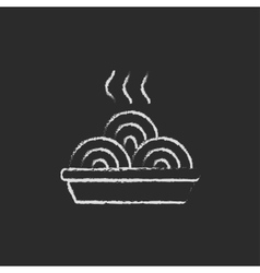 Plate of a hot mealicon drawn in chalk vector image