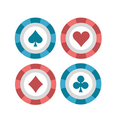 Poker chips flat vector