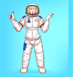 pop art spacewoman points to sales vector image