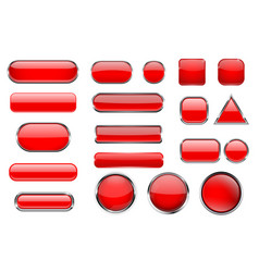 red glass buttons collection of 3d icons with and vector image