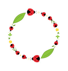Red ladybug beetles leaves and flower round frame vector