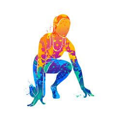 Running sprinter athlete vector