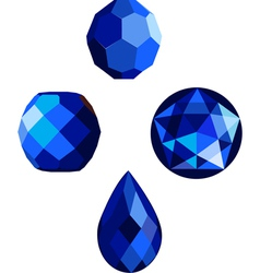 Sapphire blue faceted beads vector