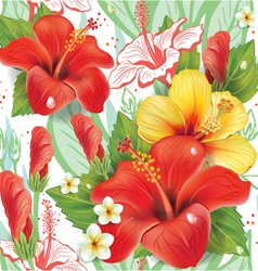 Seamless floral pattern with hibiscus pattern vector image