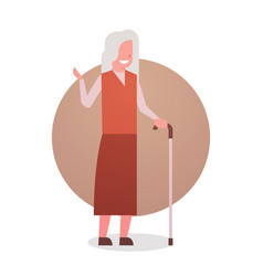 Senior woman with stick happy smiling grandmother vector
