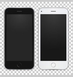 Set black and white smart phone to present your vector