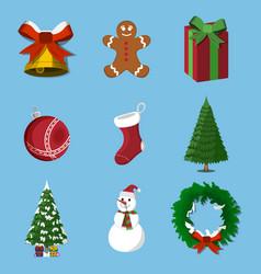 set of 9 christmas xmas icon cartoon style vector image